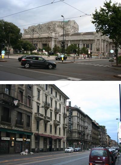 ミラノ中央駅と投宿先のホテルamadeus